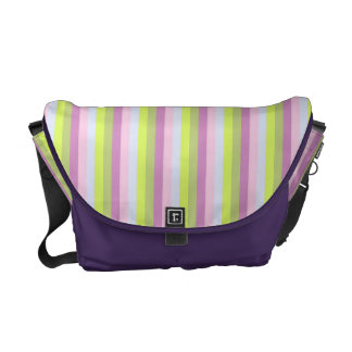 Chic  Lilac Lavender  Light Green Stripes Pattern Courier Bag