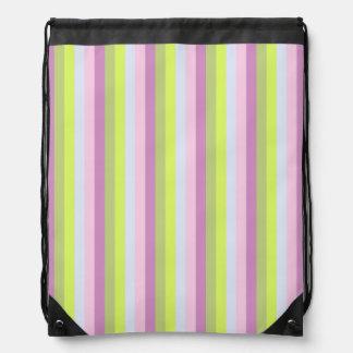 Chic Lilac Lavender Light Green Stripes Pattern Drawstring Bag