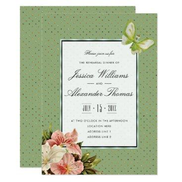 Wedding Themed Chic Lilies & Gem Butterfly Rehearsal Dinner Card