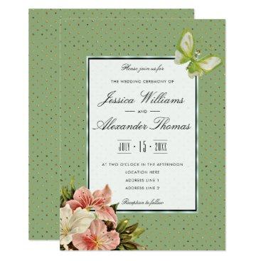 Wedding Themed Chic Lilies & Gem Butterfly Wedding Ceremony Card