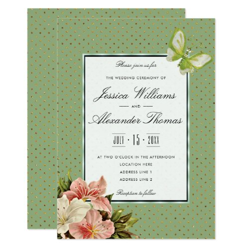 Chic Lilies &amp&#x3B; Gem Butterfly Wedding Ceremony Card