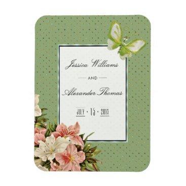 Wedding Themed Chic Lilies & Gem Butterfly Wedding Magnet