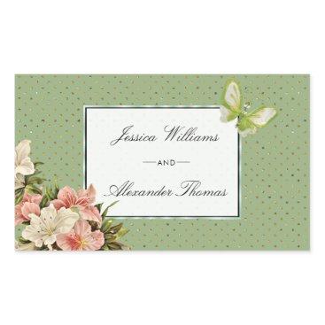 Wedding Themed Chic Lilies & Gem Butterfly Wedding Rectangular Sticker