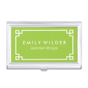 Lime green business card holders cases zazzle chic lime green and white greek key business card holder colourmoves