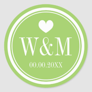 Chic lime green monogram wedding stickers or seals