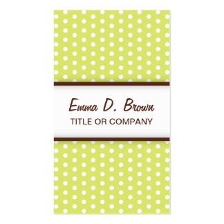 Chic lime green polka dot pattern profile card business card