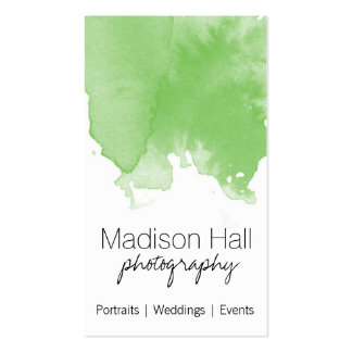 Chic Lime Green Watercolor Business Card