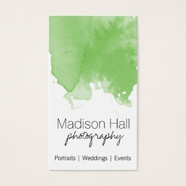 Professional Business Chic Lime Green Watercolor Business Card