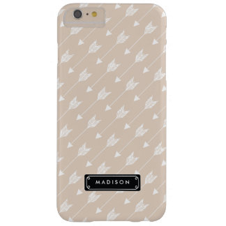 Chic Linen Beige Tribal Arrows Personalized Barely There iPhone 6 Plus Case