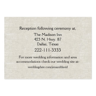 Chic Linen Look Wedding Enclosure Card Large Business Card