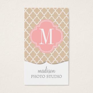 Chic Linen Moroccan Lattice Personalized Business Card