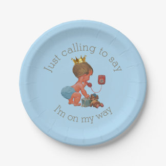 Chic Little Prince on Phone Baby Shower Paper Plate