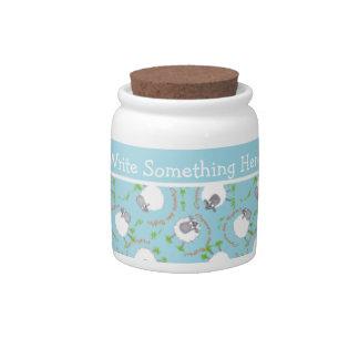 Chic Little Storage Jar: Blue, Fun Sheep Patterns Candy Dishes