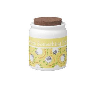 Chic Little Storage Jar: Yellow Fun Sheep Patterns Candy Dish