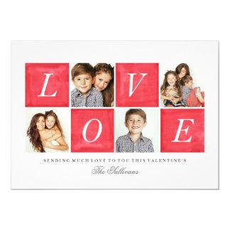 Chic Love 4 Photo Collage Valentine's Day 5x7 Paper Invitation Card