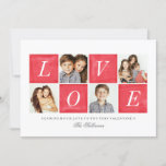 Chic Love 4 Photo Collage Valentine's Day Holiday Card
