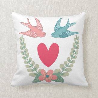 Chic Love Birds and Laurels Throw Pillow