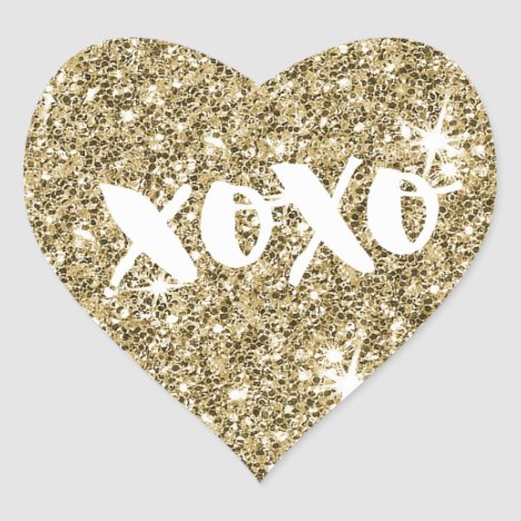 CHIC LOVE XOXO HEART modern faux gold glitter Heart Sticker