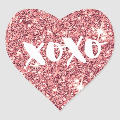 CHIC LOVE XOXO HEART modern faux pink glitter Heart Sticker
