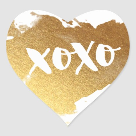 CHIC LOVE XOXO HEART modern faux shiny gold Heart Sticker