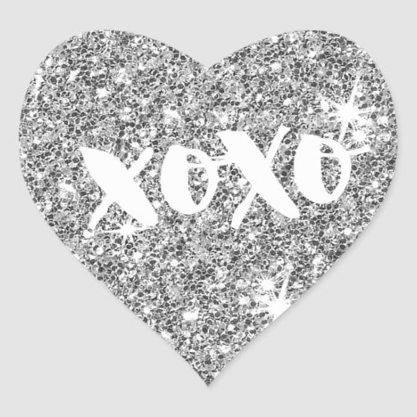CHIC LOVE XOXO HEART modern faux silver glitter Heart Sticker