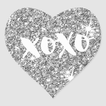 Professional Business CHIC LOVE XOXO HEART modern faux silver glitter Heart Sticker