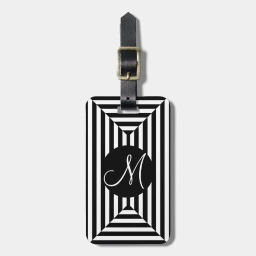 CHIC LUGGAGE/BAG/GIFT/TAG BLACK/WHITE STRIPES TAG FOR LUGGAGE