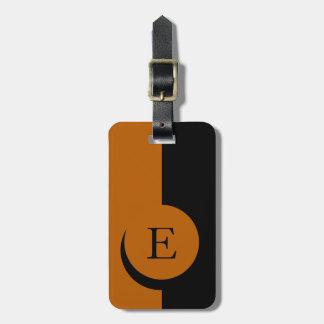 CHIC LUGGAGE BAG TAG_34 ORANGE BLACK MONOGRAM TRAVEL BAG TAGS