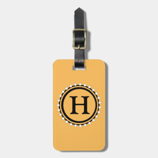 CHIC LUGGAGE/BAG TAG_56 GOLD WITH WHITE BEADS LUGGAGE TAG