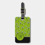 CHIC LUGGAGE/BAG TAG_64 GREEN/WHITE/BLACK FLORAL BAG TAGS