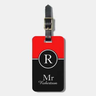 "CHIC LUGGAGE/BAG TAG_MODERN ""Mr"" 01 RED/BLACK Bag Tag"