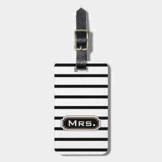 """CHIC LUGGAGE/BAG TAG_""""Mrs."""" 39 BROWN/BLACK/WHITE Travel Bag Tags"""