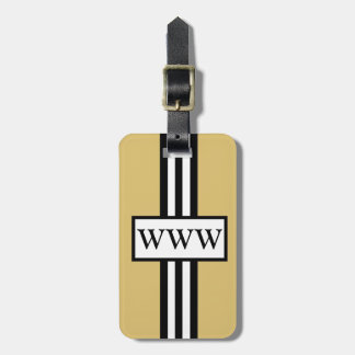 CHIC LUGGAGE/GIFT TAG_43 GOLD/WHITE/BLACK STRIPES BAG TAG