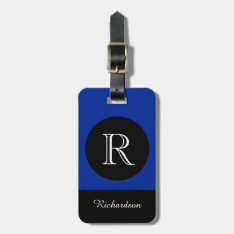 Chic Luggage Tag_black/blue/white Initial/name Luggage Tag at Zazzle