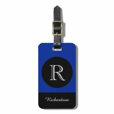 GiftMePlease CHIC LUGGAGE TAG_BLACK/BLUE/WHITE INITIAL/NAME LUGGAGE TAG