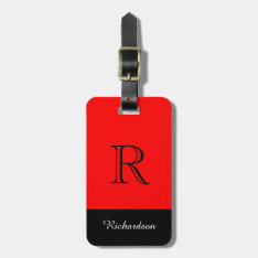 Chic Luggage Tag_black/white /red Luggage Tag at Zazzle