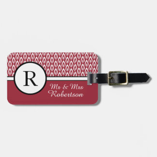 "CHIC LUGGAGE/TAG_MODERN ""Mr & Mrs"" DEEP RED/WHITE Bag Tag"