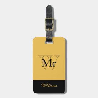 """CHIC LUGGAGE TAG_""""Mr"""" GOLD/BLACK Luggage Tag"""