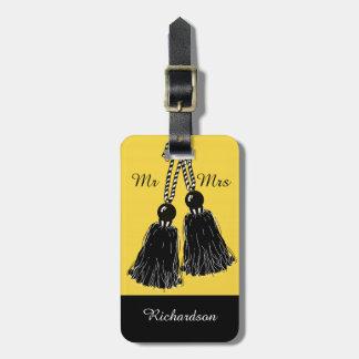 "CHIC LUGGAGE TAG_""Mr & Mrs"" BLACK TASSELS Bag Tag"