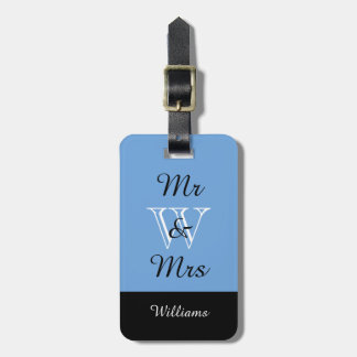 "CHIC LUGGAGE TAG_""Mr & Mrs"" IN BLUE/BLACK/WHITE Bag Tag"