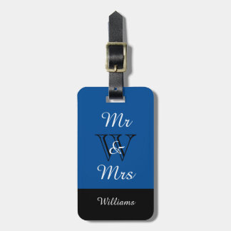 "CHIC LUGGAGE TAG_""Mr & Mrs"" IN BLUE/BLACK/WHITE Tags For Luggage"