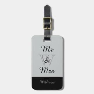 """CHIC LUGGAGE TAG_""""Mr & Mrs"""" IN GRAY/BLACK Bag Tags"""