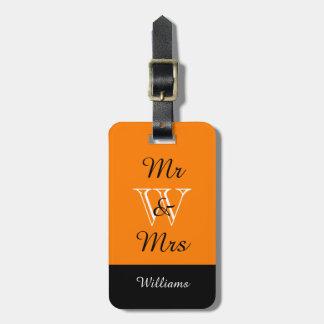 "CHIC LUGGAGE TAG_""Mr & Mrs"" IN ORANGE/BLACK/WHITE Travel Bag Tag"