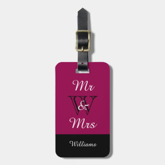 "CHIC LUGGAGE TAG_""Mr & Mrs"" RASBERRY/BLACK/WHITE Tag For Bags"
