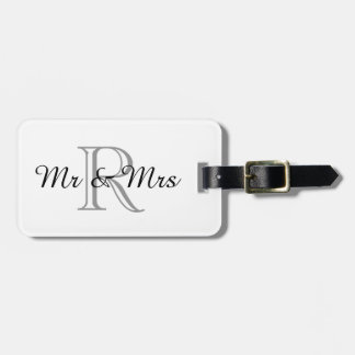 """CHIC LUGGAGE TAG_""""Mr & Mrs"""" WITH MONOGRAM Tags For Bags"""