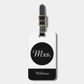 """CHIC LUGGAGE TAG_""""Mrs"""" BLACK/WHITE Luggage Tag"""