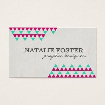 Aztec Themed Chic Magenta and Mint Green Aztec Triangles Business Card