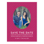 Chic Magenta Dots Photo Save The Date Post Cards