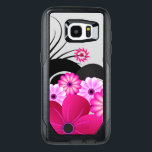 "Chic Magenta Pink Fuchsia Floral Hibiscus Flowers OtterBox Samsung Galaxy S7 Edge Case<br><div class=""desc"">&#169; Sunny Mars Designs. This girly fuchsia floral, fully customizable custom printed Samsung Galaxy S7 Edge OtterBox Commuter Series Protective Hard Shell Case Covers features a pretty pink and purple hibiscus floral design against a light gray customizable color background. Personalize it by adding your own name or other text on...</div>"