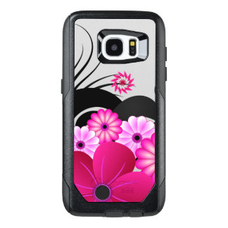 Chic Magenta Pink Fuchsia Floral Hibiscus Flowers OtterBox Samsung Galaxy S7 Edge Case